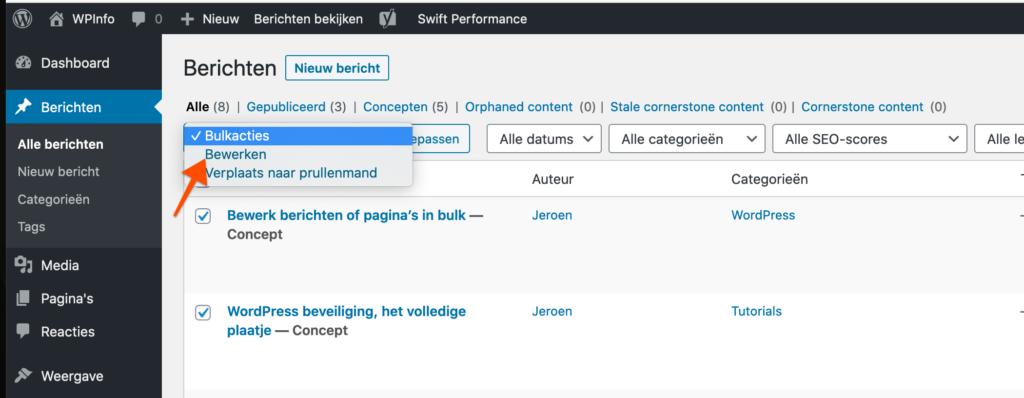 Bulk bewerken in WordPress
